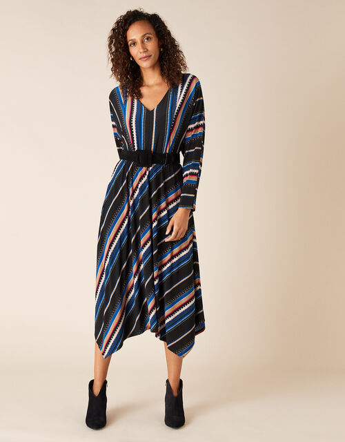 Stripe Print Midi Dress, Black (BLACK), large