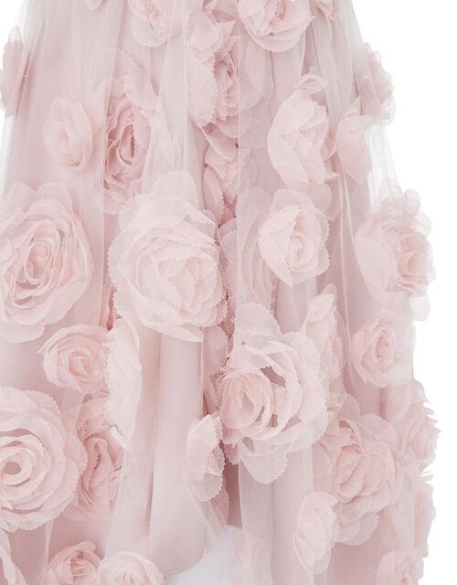 Sequin 3D Rose Hi-Low Dress, Pink (DUSKY PINK), large