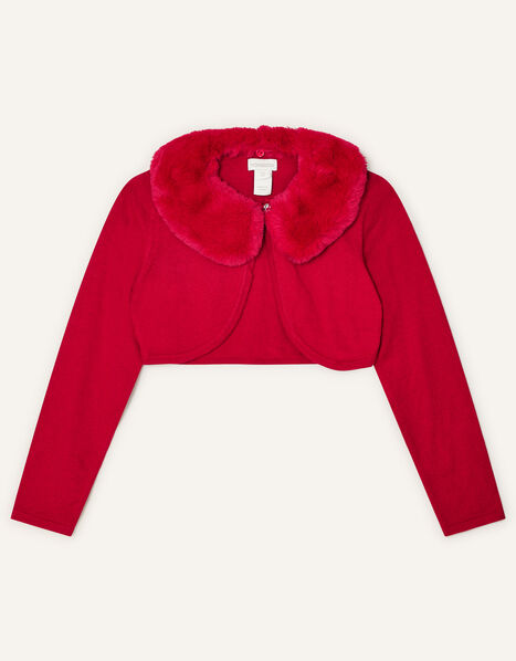 Faux Fur Collar Cardigan Red, Red (RED), large