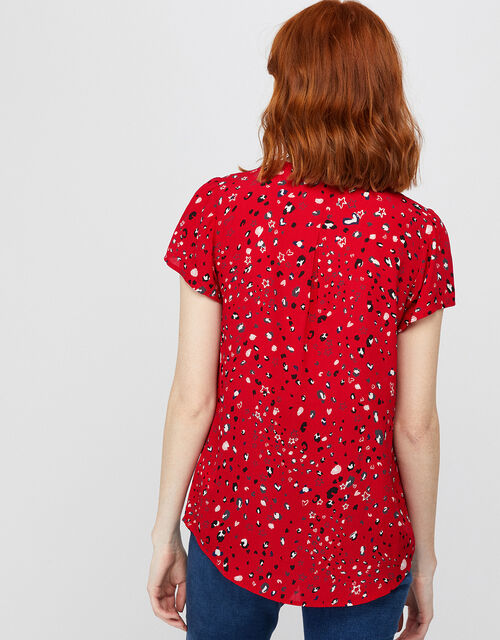 Nima Printed Short Sleeve Blouse with Zip, Red (RED), large