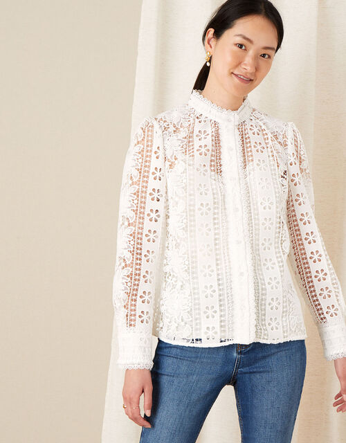 Tracey High Neck Lace Blouse, Ivory (IVORY), large
