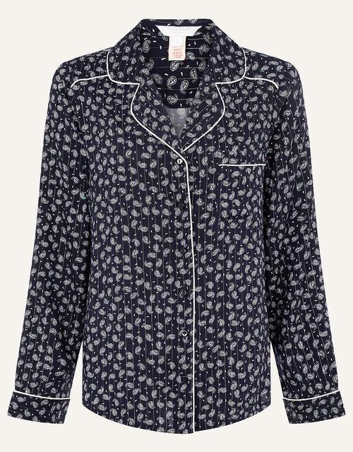 Paisley and Pinstripe Pyjama Shirt, Blue (NAVY), large