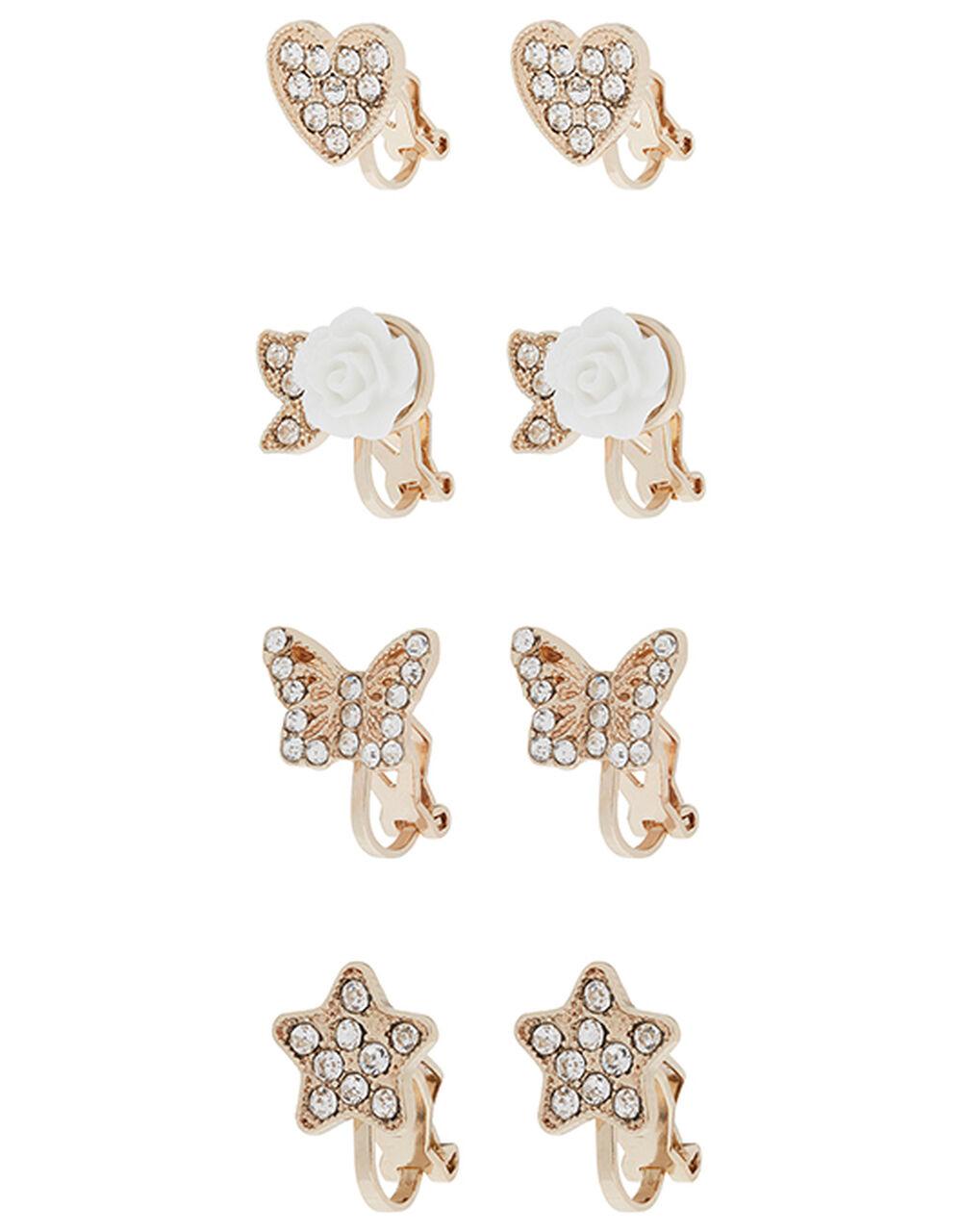 Multi-Shape Diamanté Clip-On Earring Set, , large
