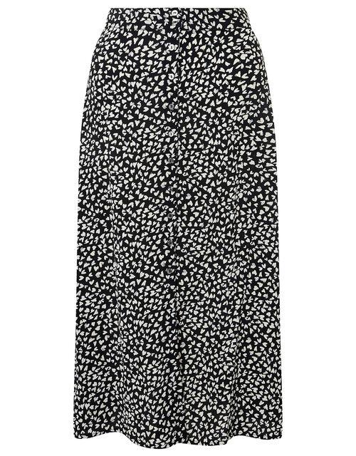 Monochrome Heart Midi Skirt, Black (BLACK), large