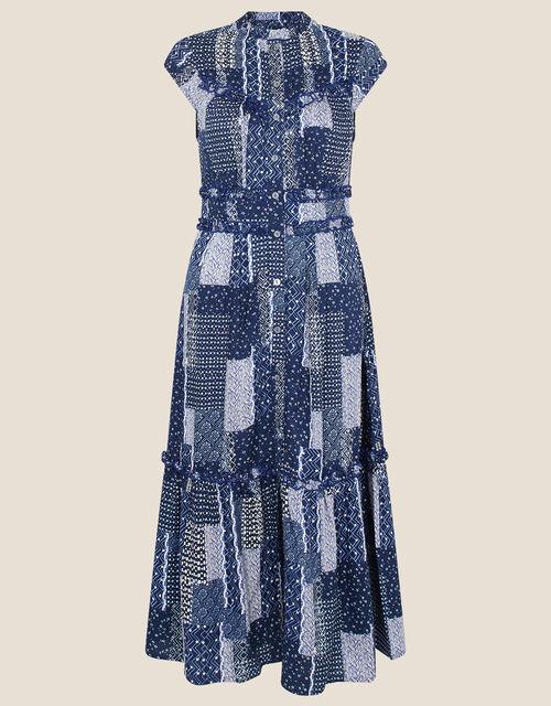 Patchwork Print Midi Dress, Blue (NAVY), large