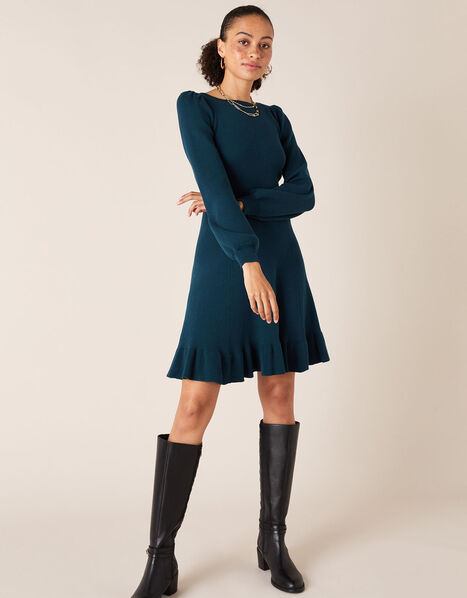 Peplum Hem Knit Dress Teal, Teal (TEAL), large