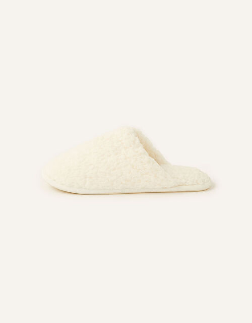 Fluffy Mule Slippers, Ivory (IVORY), large