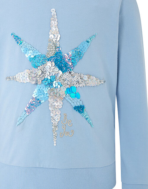 Starlight Girls Sequin Hoody, Blue (PALE BLUE), large