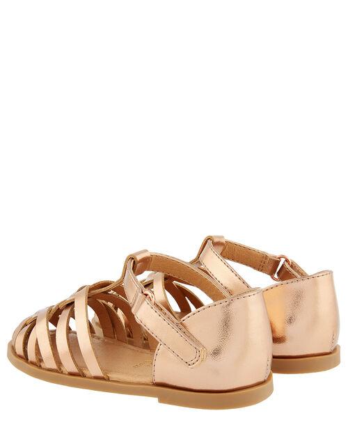 Baby Rose Gold Caged Sandals, Gold (ROSE GOLD), large