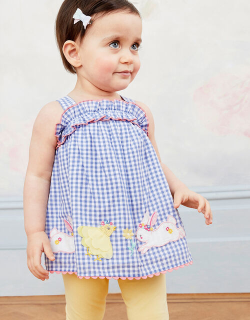 Baby Gingham Top and Leggings Set, Blue (BLUE), large