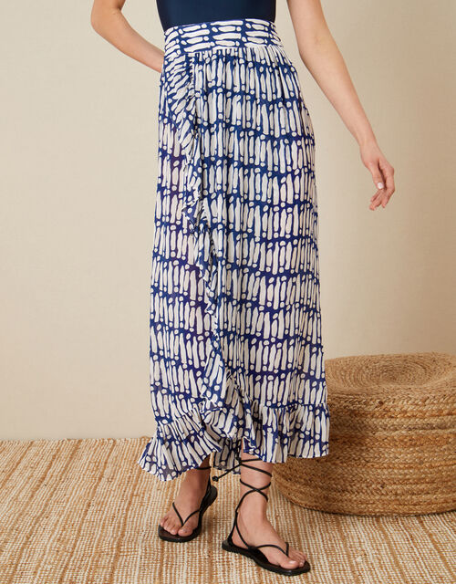 Printed Wrap Hem Skirt, Blue (NAVY), large