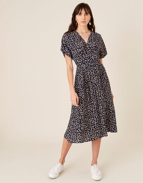 Spot Print Midi Dress, Blue (NAVY), large