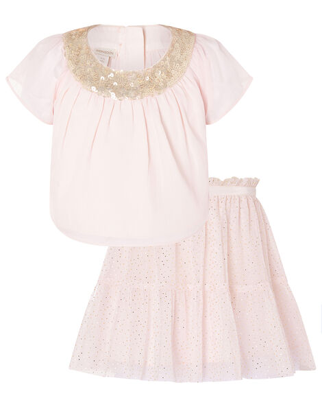 Baby Sequin Sparkle Top and Skirt Set Pink, Pink (PALE PINK), large