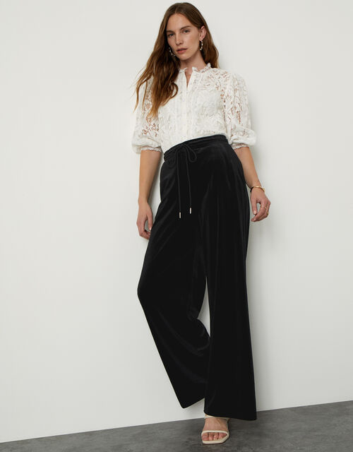 Velvet Wide Leg Jersey Trousers , Black (BLACK), large