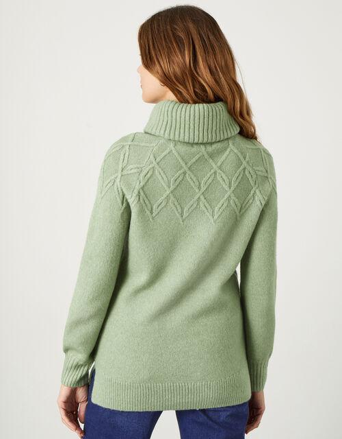 Cowl Neck Stitch Detail Longline Jumper, Green (GREEN), large
