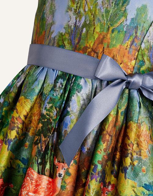 Woodland Satin Print Dress , Multi (MULTI), large