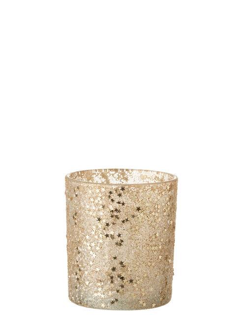 Star and Glitter Tealight Holder, Bronze (BRONZE), large