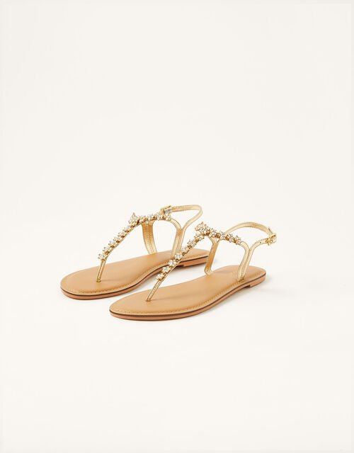 Embellished Toe-Post Sandals, Gold (GOLD), large