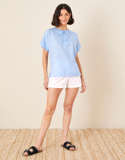 Tie Neck Top in Pure Linen, Blue (BLUE), large