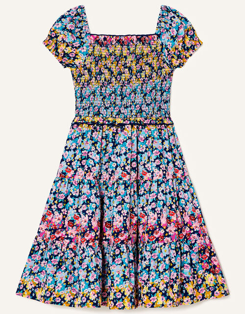 Ditsy Floral Tiered Dress, Blue (NAVY), large