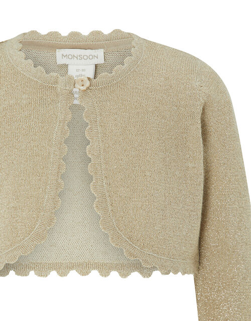 Baby Niamh Sparkle Knit Cardigan, Gold (GOLD), large