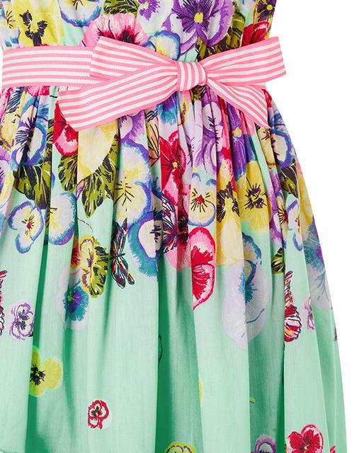 Pansy Embellished Neck Floral Dress, Green (GREEN), large