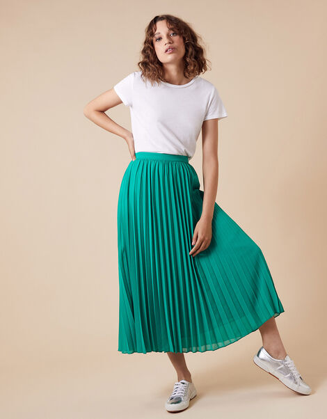 Meryl Pleated Midi Skirt in Recycled Fabric Green, Green (GREEN), large