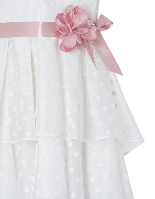 Ingrid Shimmer Spot Dress with Tiered Skirt, White (WHITE), large