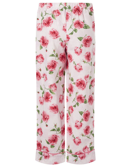 Rose Flannel PJ Set in Organic Cotton, Pink (PINK), large