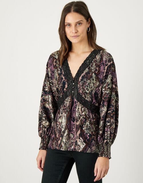 Nagini Snake Print Lace Top, Brown (BROWN), large