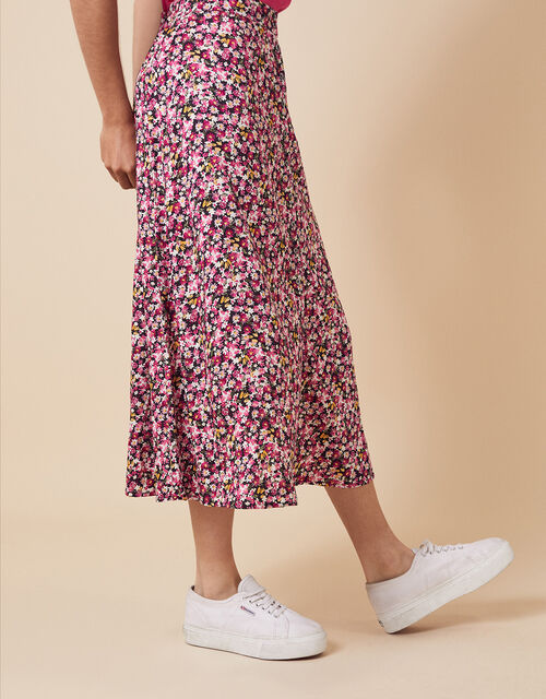 Ditsy Floral Midi Skirt in LENZING™ ECOVERO™, Pink (PINK), large