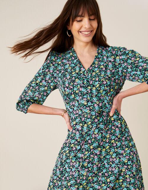 Ditsy Floral Print Collar Dress, Blue (NAVY), large