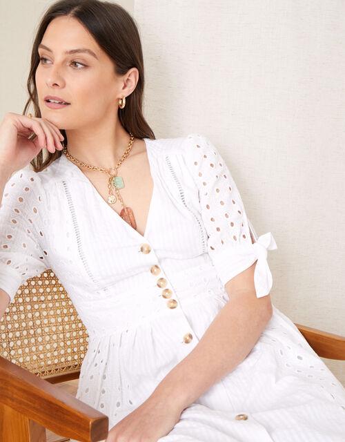 Dolly Schiffli Midi Dress , White (WHITE), large