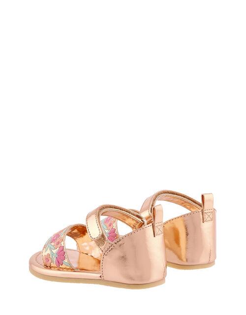 Baby Embroidered Walker Sandals, Gold (ROSE GOLD), large