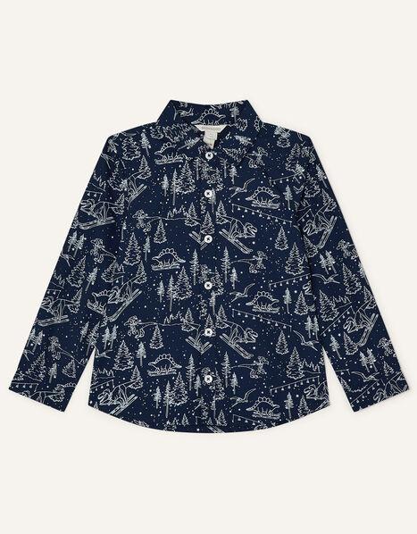 Christmas Dinosaur Print Shirt Blue, Blue (NAVY), large