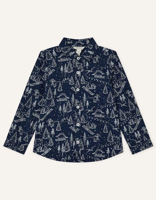 Christmas Dinosaur Print Shirt, Blue (NAVY), large