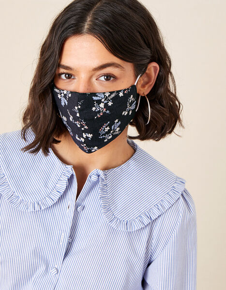 Floral Face Mask in Pure Cotton, , large