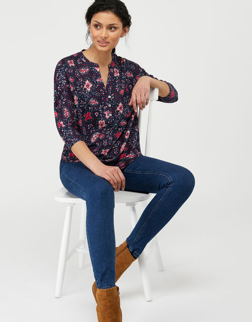 Lottie Leaf Print Top in Pure Linen, Blue (NAVY), large