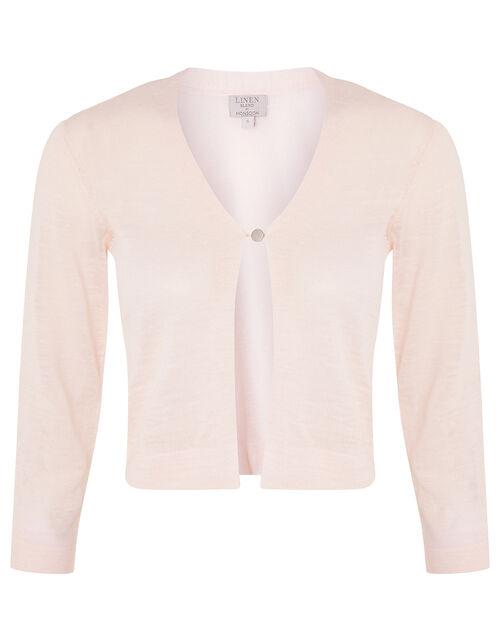 Button Shrug in Linen Blend, Pink (BLUSH), large
