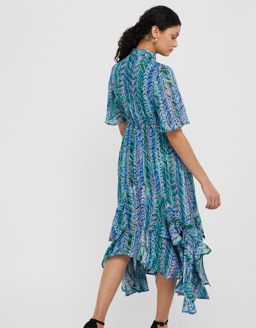 Aaliyah Printed Hanky Hem Dress, Blue (BLUE), large