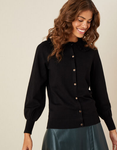 Collared Button Cardigan  Black, Black (BLACK), large