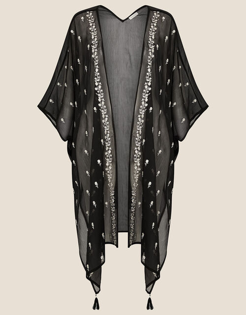 Floral Embroidered Open Kaftan, , large