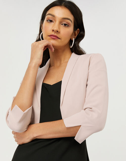 Juni Sustainable Cropped Smart Jacket, Nude (NUDE), large
