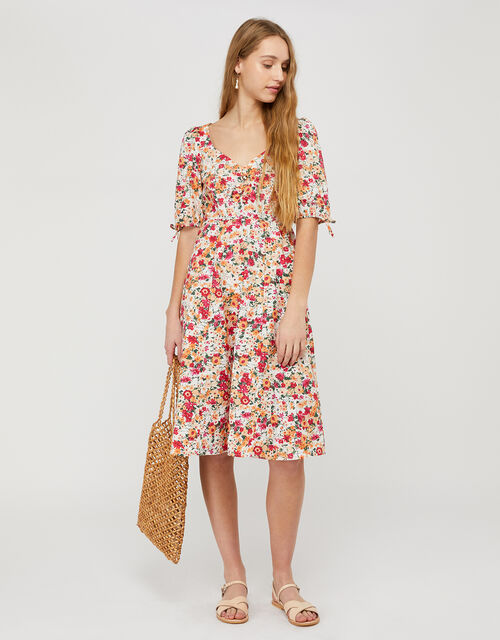 Julissa Floral Print Dress in Organic Cotton, Ivory (IVORY), large