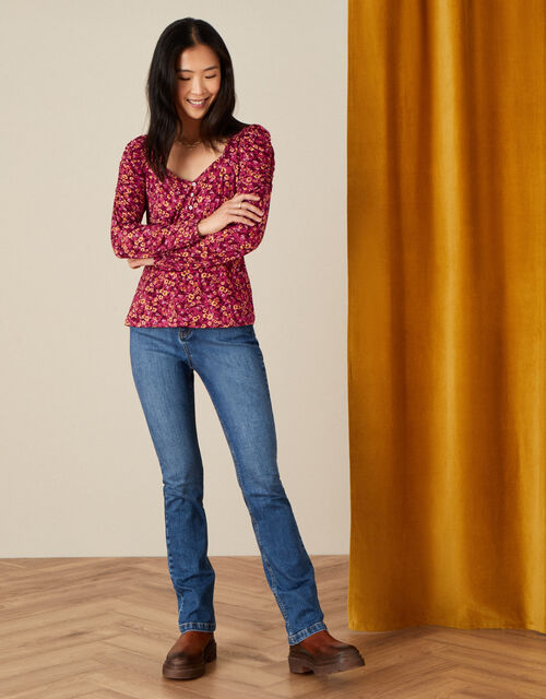 Dee Dee Ditsy Floral Top, Red (RED), large