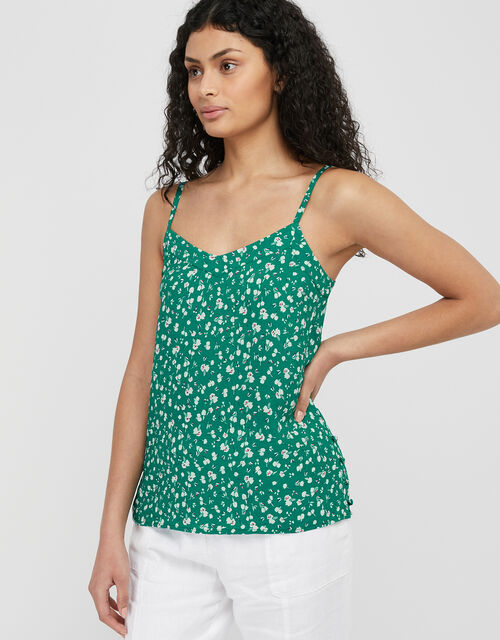 Poppy Floral Cami Top with Sustainable Viscose, Green (GREEN), large
