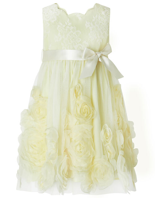 Baby Macaroon Occasion Dress with 3D Flowers, Yellow (LEMON), large