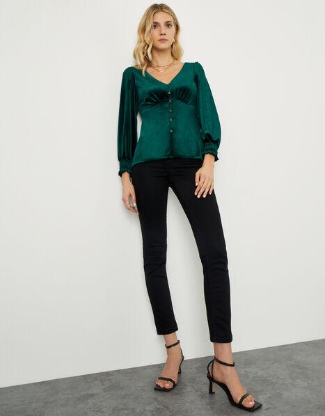 Gracie Button Through Velvet Blouse Green, Green (GREEN), large