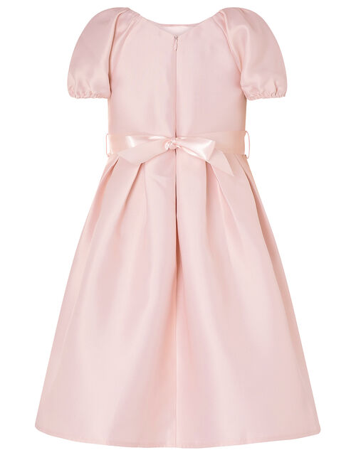 Corsage Belt Puff Sleeve Dress, Pink (PINK), large