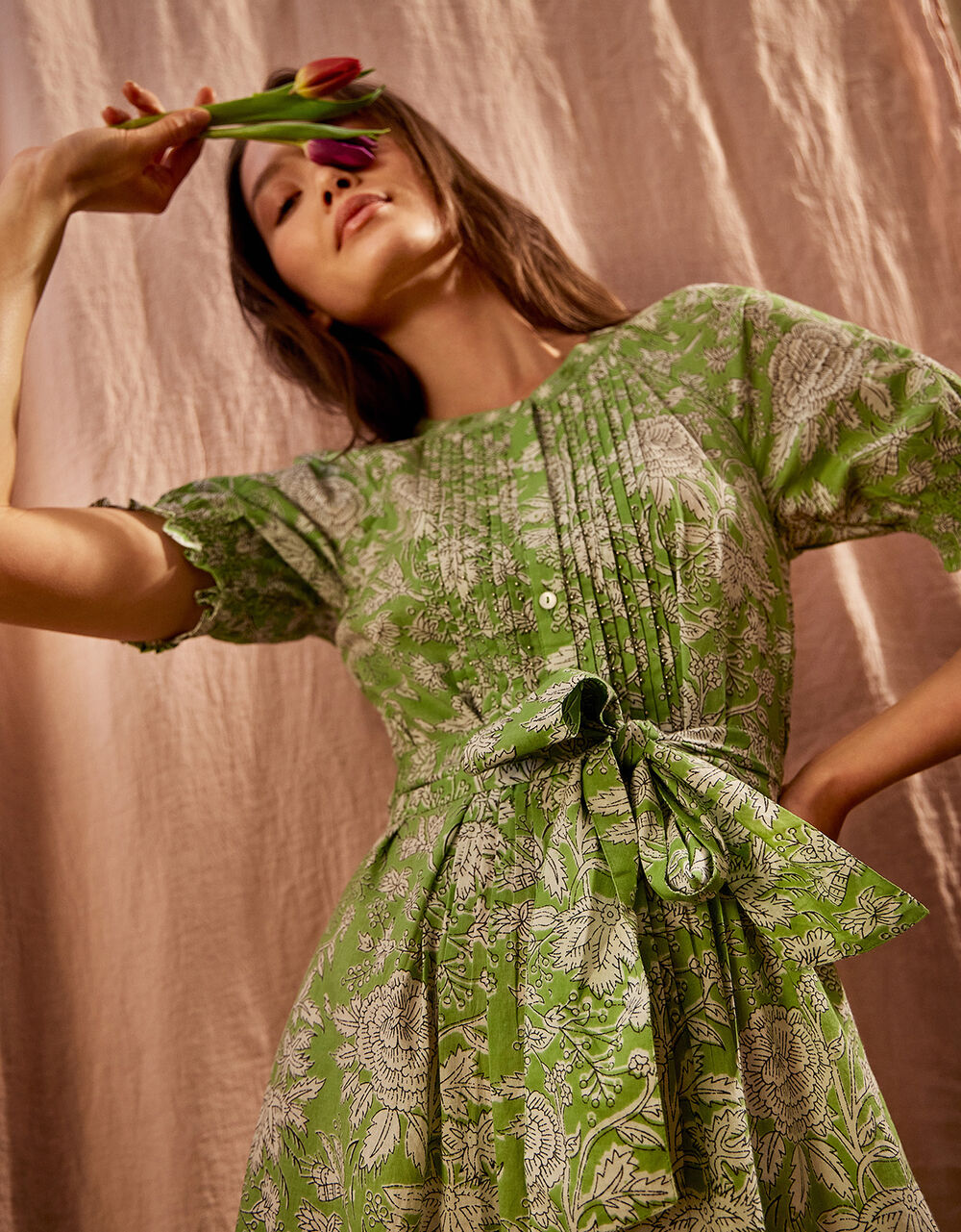 Floral Belted Midi Dress, Green (GREEN), large
